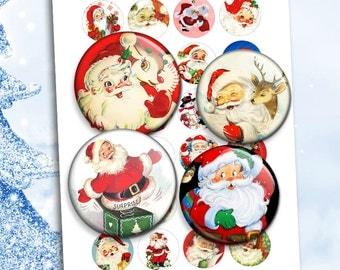 Santa Claus Printable round Images for Scrapbooking Bottle caps, Pendants Digital Collage Sheet Instant Download