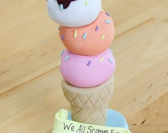 Ice Cream Cake Topper - Keepsake - Personalized - Birthday - Baby Shower