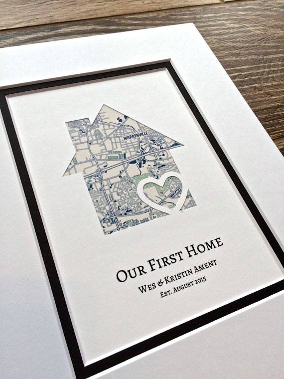 Our First Home Personalized Home Map Matted Gift First Home