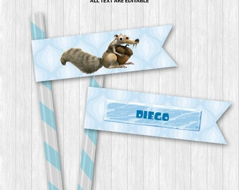 Ice Age Straw Flags