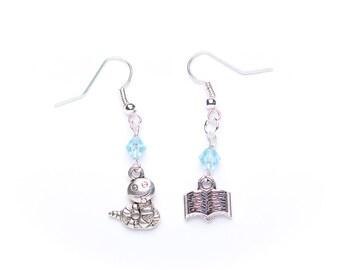 Bookworm Earrings | Asymmetrical Bookwork Earrings | Book Lover Gift Idea | Book Jewellery