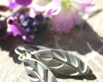 Silver handmade leaf imprint earrings,  silver leaf earrings, silver leaf jewelry, silver leaves, handmade silver nature jewelry