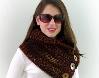 Crochet Chunky Boston Harbor Scarf with Buttons in Sequoia Brown
