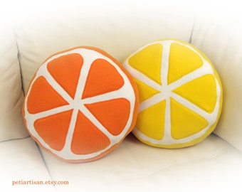 Set of 2 Pillows, Orange and Lemon Pillows, Citrus Pillow, Food Pillow, Fruit Pillow, Toy Pillow, 3D Pillow