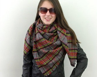 Blanket Scarf, Plaid Scarf, Cotton Scarf in Gray, Red and Yellow, Flannel Scarf, Tartan Scarf, SALE 20% OFF