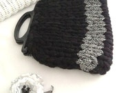 Handbag, Knitted, Black & White Purse, Cable Knit,  Herringbone, Up-cycled Vintage