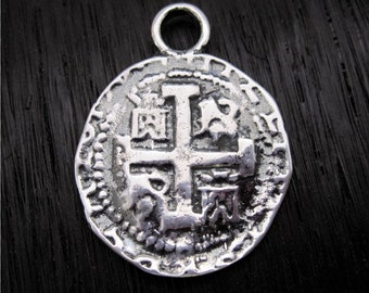 Sterling Silver Spanish Coin Replica Charm and Pendant (one) (C) (N)