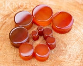 Red Agate Stone Plugs - Double Flared - 1 Pair - 6mm - 8mm - 10mm - 11mm - 12.7mm - 14mm - 16mm - 19mm - 22mm - 25mm - Organic