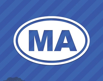 Massachusetts MA Oval Vinyl Decal Sticker