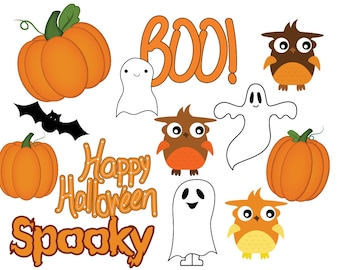 Pumpkin clipart, Halloween clipart, owl clipart, ghost clipart, Halloween clip art, cute ghosts, Pumpkin clip art, Commercial Use