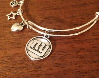 NY GIANTS silver alloy adjustable wire bangle bracelet with FREE shipping