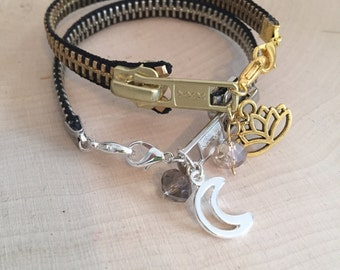 Zipper Bracelet »Choose your Charm« Zipper Jewelry  Charm Bracelet Custom Made