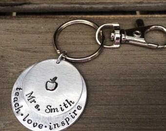 Teacher Keychain / Teacher Gifts / Teach Love Inspire / Personalized Teacher Gift / Teacher Christmas /Teacher Gift Idea / Unique Teacher