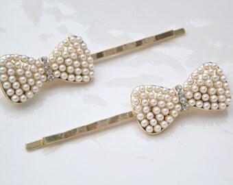Bridal Wedding Gold Crystal Pearl Bow Hair Pins Hair Jewelry Bobby pins Hair pins Hair Clip Accessories