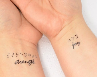 Braille Temporary Tattoo Set, Inspirational Temporary Tattoo, Braille Tattoo, Costume Temporary Tattoo, Fake Tattoo, Braille Gift x3