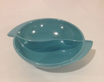 Vintage Boonton melmac melamine turquoise divided serving bowl dish