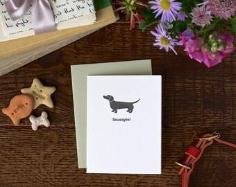 Sausage dog letterpress card - hand made greeting cards