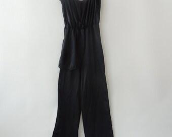 vintage 80's lingerie PANTSUIT jumpsuit disco darling lounge pants palazzo wide legged black pantsuit deep V low cut