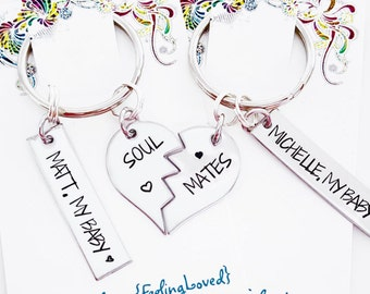 Soulmates - Soul Mate - Best Friends- Personalized key chains - Personalized necklaces - Valentine's Day - Wedding Gift - Bride & Groom Gift