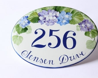 hand painted flowers number sign/ home address sign/ house numbers/ housewarming gift/ wall number sign/ wall hanging sign