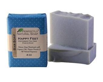 Happy Feet Peppermint Tea Tree Pumice All Natural Artisan Handmade Soap, 4 oz