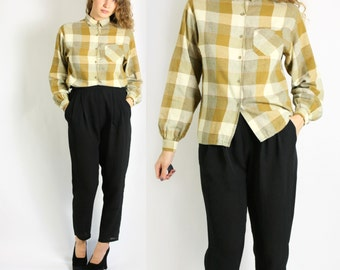 Vintage 80's  Mustard White Plaid Check Button Down Collared Blouse Shirt - Small to Medium