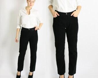 Vintage 90's Ralph Lauren Black Corduroy Pants Trousers - Medium