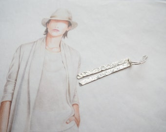 Long Sterling Silver Bar Earrings, Hammered Bar Earrings