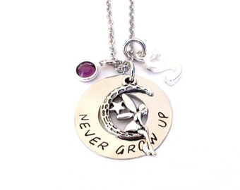 Never Grow Up- Necklace Hand Stamped stainless steel washer necklace never grow up jewelry quote inspirational handmade
