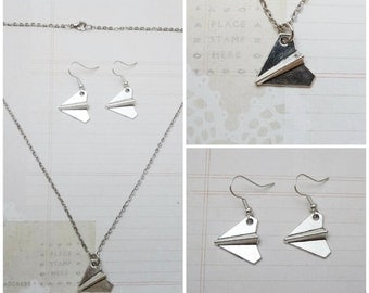 Silver Origami Plane Necklace and Earring Jewelry Set - Ready to Ship