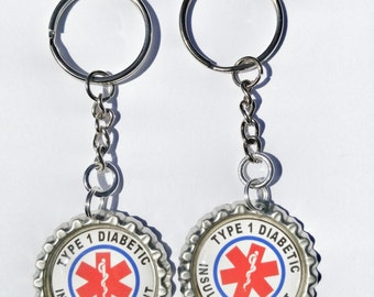 Diabetic Insulin Dependent Alert. 2- pack 1 inch zipper pull charms