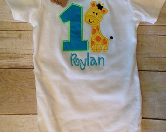 Personalized Giraffe First Birthday Shirt Onesie / Bodysuit / Toddler Shirt