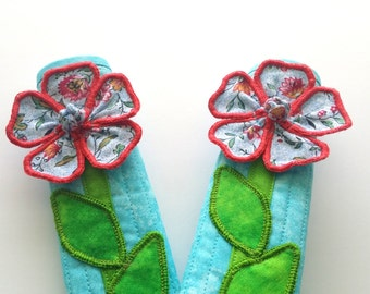 """12"""" (Small) Refrigerator Handle Cover Set - Blue with Flower Design by Simply Faye"""