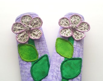 """12"""" (Large) Refrigerator Handle Cover Set - Purple with Flower Design by Simply Faye"""