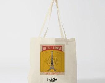 X289Y Tote bag eiffel tower tote bag Paris, bag france, cotton bag, canvas, tote bag paris, tote bag gift bag, bag vintage, PARIS