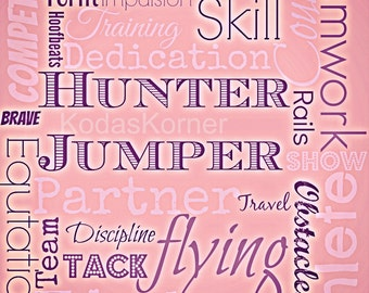Hunter Jumper Word Art Sunset