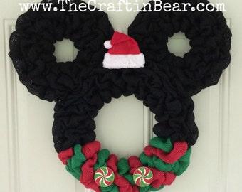 Christmas Mickey Mouse wreath - Burlap wreath - Santa Mickey - disney - Christmas wreath - Christmas Mickey - Christmas Mickey Decor