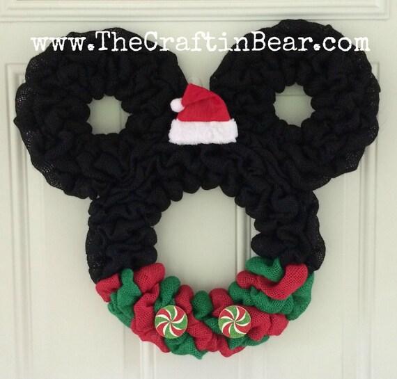 Christmas Mickey Mouse wreath Burlap wreath Santa Mickey