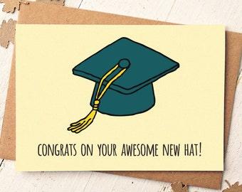 Graduation Card - Funny Graduation Card - Congrats Card - Graduate - College Graduation Gift - Funny Friend Card - Exam Congratulations