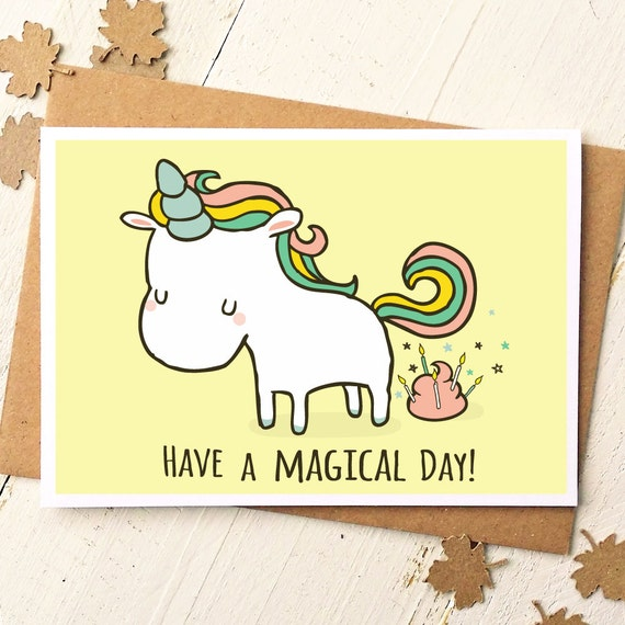 Unicorn Card Funny Birthday Card Unicorn Birthday Card