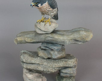 Peregrine Falcon - Wildfowl Wood Carving - Bird Art