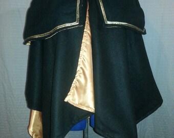 Cape/Wrap & Hood/Mantle Cowl Set Fleece Satin Lined Renaissance LARP, More Colors Available