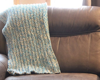 Afghan- Baby/ Toddler sized-Blue, Turquoise, White and Tan- Crochet- Handmade