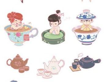 Pre-cut Tea Themed Stickers (21cmx10cm)