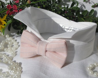 Dog Bow Tie Collar~Light Pink Striped~Wingtip Tuxedo Dog Collar~Dog Wedding Collar~Wedding Dog Attire~Dog Ring Bearer~Dog Shirt Collar~Pink~