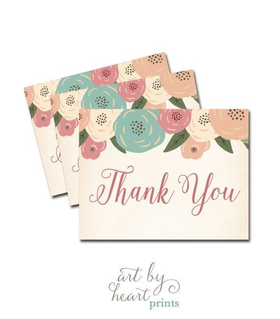 Bridal Shower Thank You Card Printable Thank You Note