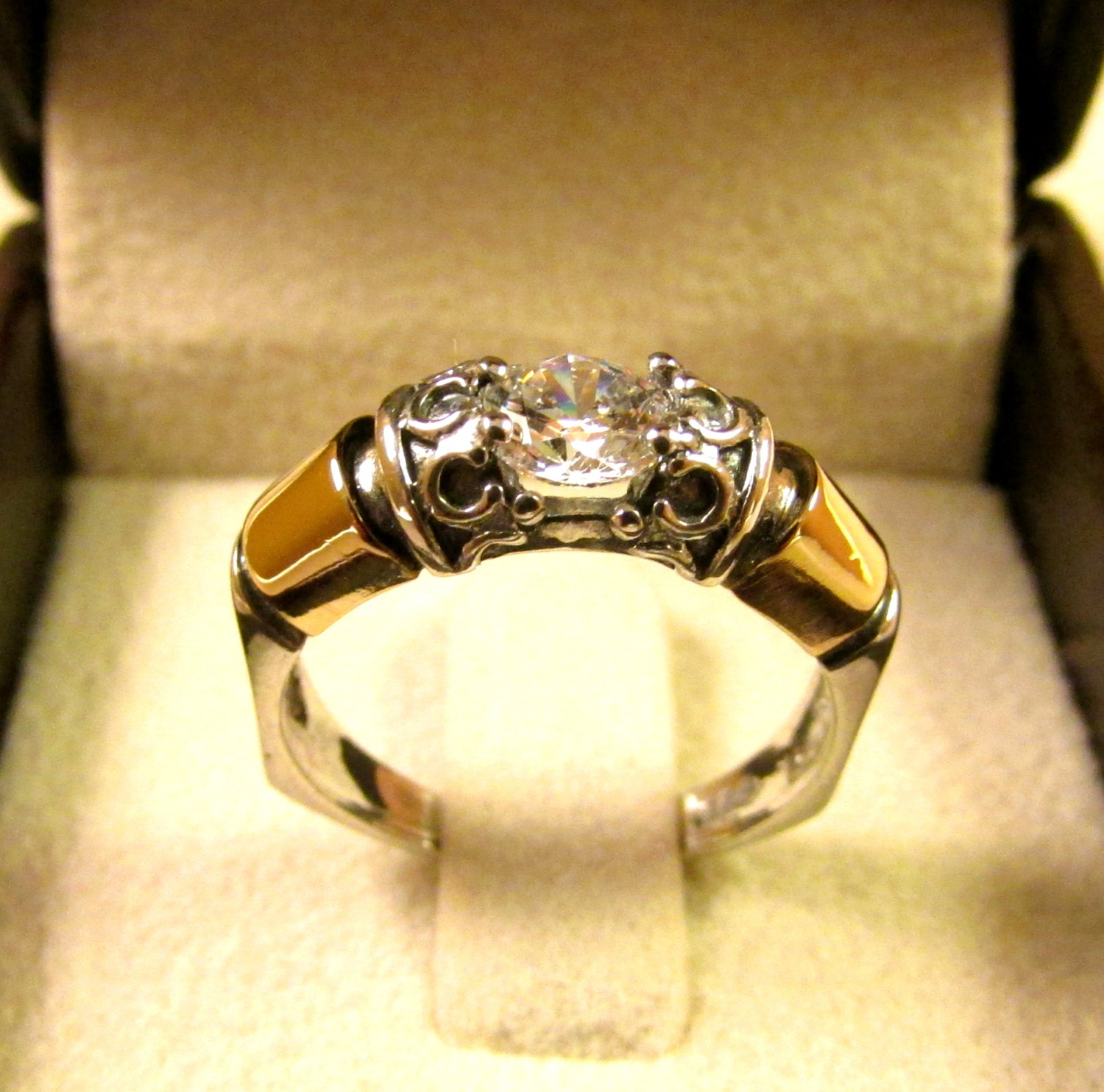 wedding engagement rings silver gold ring cubic by