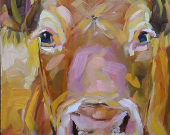 Cow 101 MISS MANNERS small original cow oil painting by Jean Delaney size 6 x 8inch on 1/8th inch gessobord