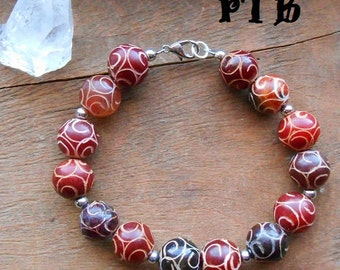 """Life/Action/Dispel Fear ~ Authentic Natural Carved Red Jade Solid 12mm Gemstone Bracelet 7 3/4"""""""