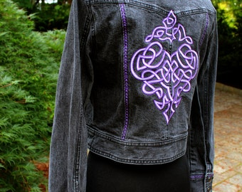 Denim Jacket (S) - Celtic Purple Scrolls - from our CARAUT-Altered collection of clothing